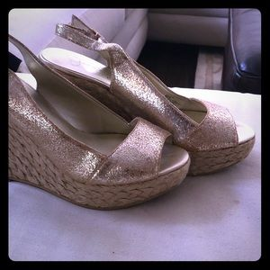 Gold Wedge espadrilles